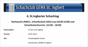 4. St. Ingberter Schachtag @ Eisenberghalle in Hassel